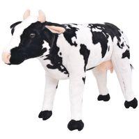 vidaXL Vaca de peluche de pie color negro y blanco XXL