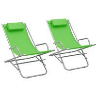 vidaXL Sillas mecedoras 2 unidades acero verde