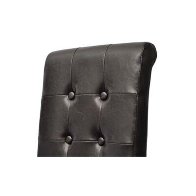vidaXL Sillas de comedor 4 unidades cuero sintético marrón