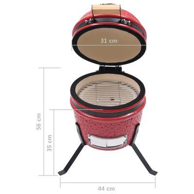 vidaXL 2 en 1 Barbacoa ahumadora Kamado de cerámica rojo 56 cm