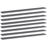 vidaXL Estantes estantería 8 uds aglomerado gris brillo 100x10x1,5 cm