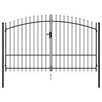 vidaXL Cancela de valla doble puerta con puntas acero negro 3x2 m