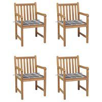 vidaXL Sillas de jardín 4 uds madera maciza teca cojines cuadros gris