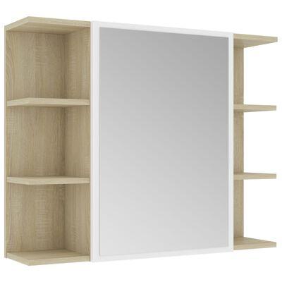 vidaXL Armario espejo de baño aglomerado blanco y Sonoma 80x20,5x64 cm