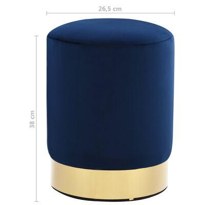 vidaXL Taburete de terciopelo azul y dorado