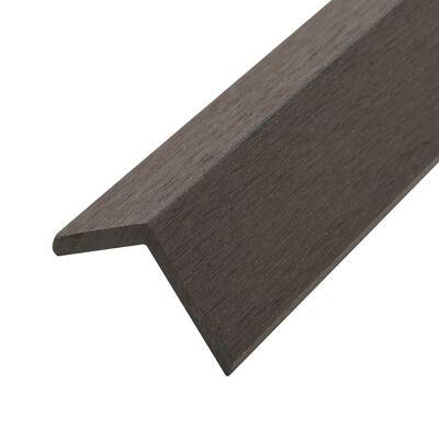 vidaXL Moldura de ángulo de porche WPC 5 unidades 170 cm marrón oscuro