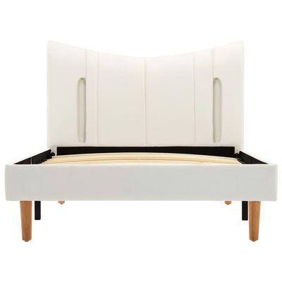vidaXL Estructura de cama con LED de cuero sintético blanco 100x200 cm
