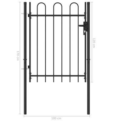 vidaXL Cancela de valla con una puerta y arcos acero negro 1x1,2 m