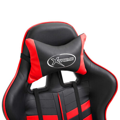 vidaXL Silla de gaming de cuero sintético rojo