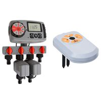 vidaXL Temporizador automático riego 4 estaciones y sensor humedad 3V