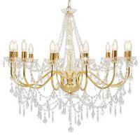 vidaXL Lámpara de araña con cuentas dorado 12 bombillas E14