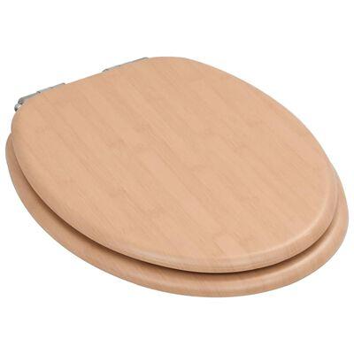 vidaXL Asiento inodoro WC 2 uds tapa de cierre suave MDF diseño bambú