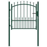 vidaXL Puerta de valla con picos acero verde 100x100 cm
