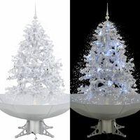 vidaXL Árbol de Navidad con nieve con base en paraguas blanco 140 cm