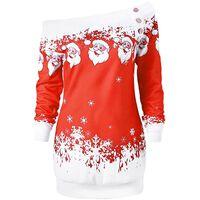Jersey navideño con hombros descubiertos rojo - talla M