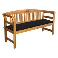 vidaXL Banco de jardín con cojín madera maciza de acacia 157 cm