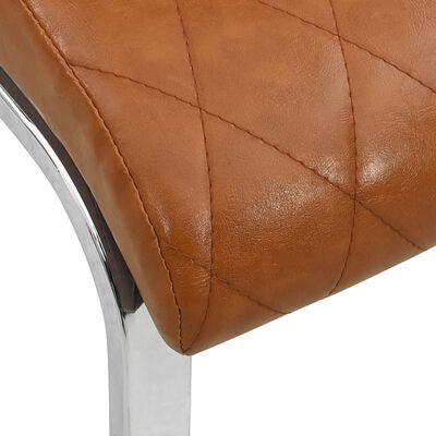 vidaXL Sillas voladizas comedor 2 uds cuero sintético marrón brillante