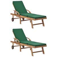 vidaXL Tumbonas con cojines 2 unidades madera maciza de teca verde