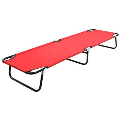 vidaXL Tumbona plegable acero roja