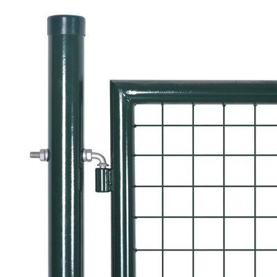 vidaXL Puerta de valla de acero verde 306x175 cm