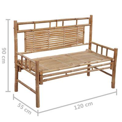 vidaXL Banco de jardín con cojín bambú 120 cm