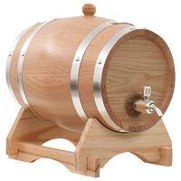 vidaXL Barril de vino con grifo madera roble macizo 6 L
