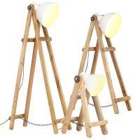 vidaXL Lámpara de pie 3 piezas madera maciza de mango blanco E27