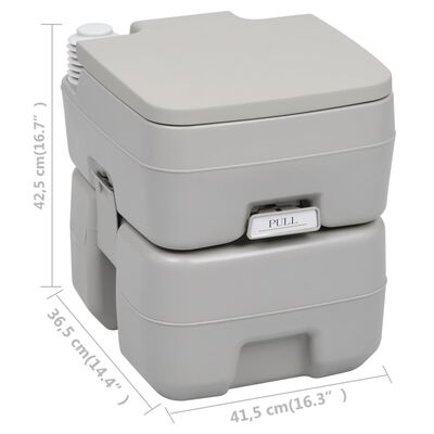 vidaXL Inodoro portátil para camping gris 20 + 10 L
