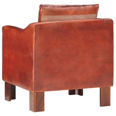 vidaXL Sillón con diseño de cubo cuero auténtico marrón oscuro