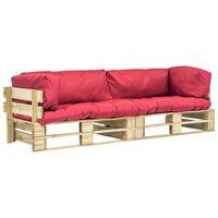 vidaXL Sofás de jardín de palés 2 unidades cojines rojos madera pino