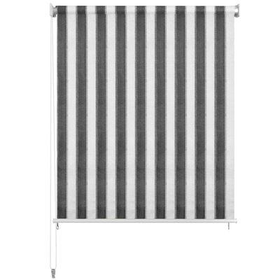vidaXL Persiana enrollable 180x230 cm a rayas gris antracita y blanca