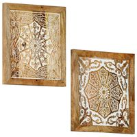 vidaXL Paneles de pared tallados a mano 2 uds madera mango 40x40x1,5cm