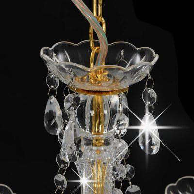 vidaXL Lámpara de araña con cuentas dorado redonda 3 x E14