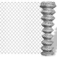 vidaXL Valla de tela metálica acero galvanizado plateado 15x1 m
