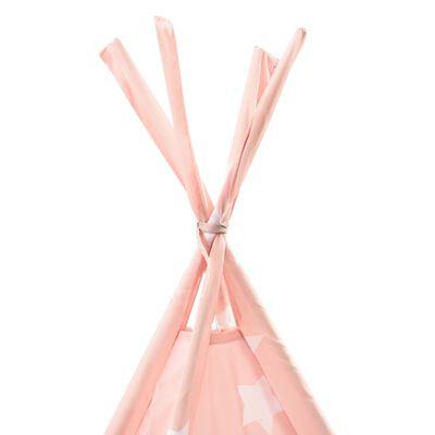 vidaXL Tienda tipi para niños con bolsa poliéster rosa 115x115x160 cm