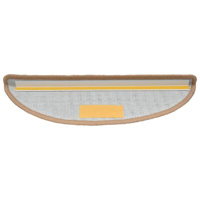 vidaXL Alfombrillas de escalera 15 unidades beige 65x25 cm