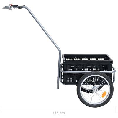 vidaXL Remolque de bicicleta con caja plegable 50 L negro 150 kg