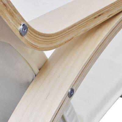 vidaXL Mecedora de madera curvada y tela color crema