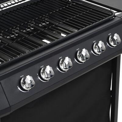 vidaXL Barbacoa portátil de gas con 6 zonas de cocción negra de acero