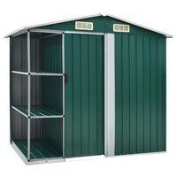 vidaXL Cobertizo de jardín con estantería hierro verde 205x130x183 cm