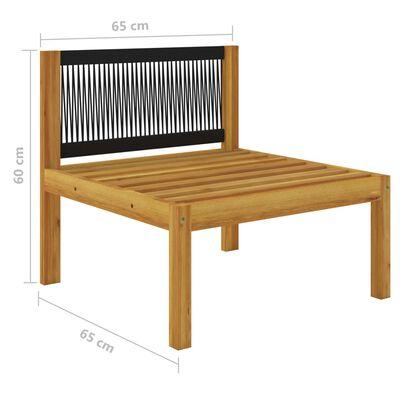 vidaXL Sofá central para jardín con cojines madera maciza de acacia