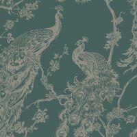DUTCH WALLCOVERINGS Papel pintado pavo real verde y plateado