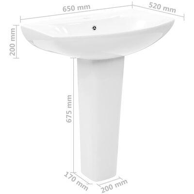 vidaXL Lavabo de pie de cerámica blanco 650x520x200 mm