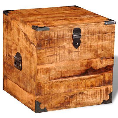 vidaXL Baúl de almacenamiento cúbico de madera de mango rugosa