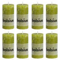 Bolsius Velas rústicas 8 unidades verde musgo 100x50 mm