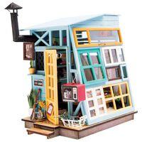 Robotime Kit de miniatura DIY Wooden Hut con luz LED