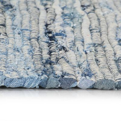 vidaXL Alfombra tejida a mano Chindi tela vaquera azul 120x170 cm