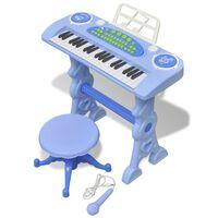 Piano de juguete de 37 teclas con taburete/micrófono para niños (Azul)