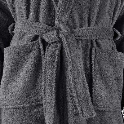 vidaXL Albornoz de rizo unisex 100% algodón gris antracita talla XXL