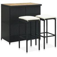 vidaXL Set de mesa y sillas de bar jardín 3 pzas ratán sintético negro